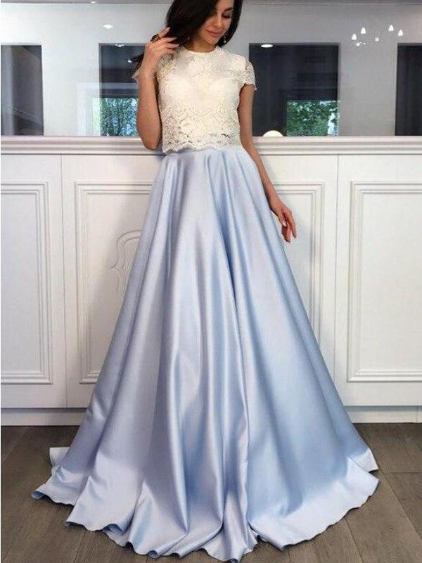 Two Pieces High Neck Short Sleeve Blue Skirt A line Long Evening Prom Dresses