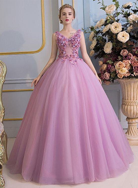 Pink v neck long prom dress, lace evening dress