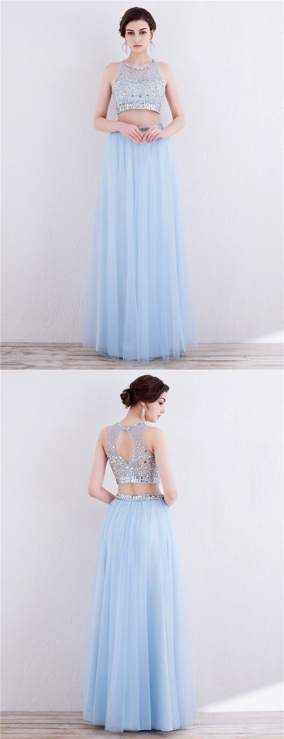 Two Piece Jewel Open Back Light Sky Blue Tulle Prom Dress with Beading Open Back