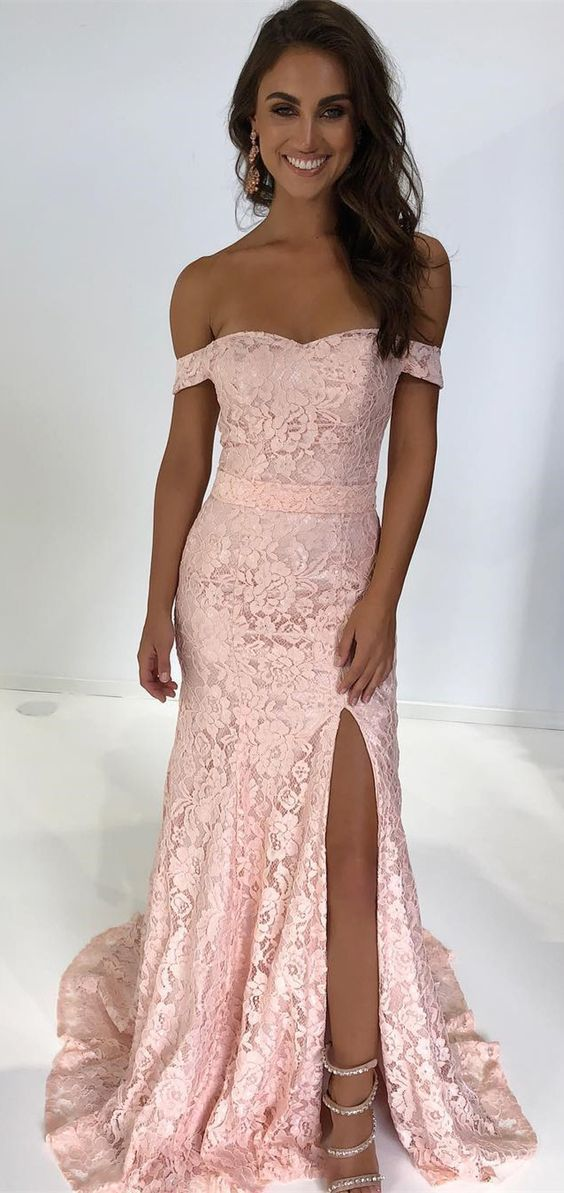 Gorgeous Off the Shoulder Pink Mermaid Lace Long Party Dress with Side Slit