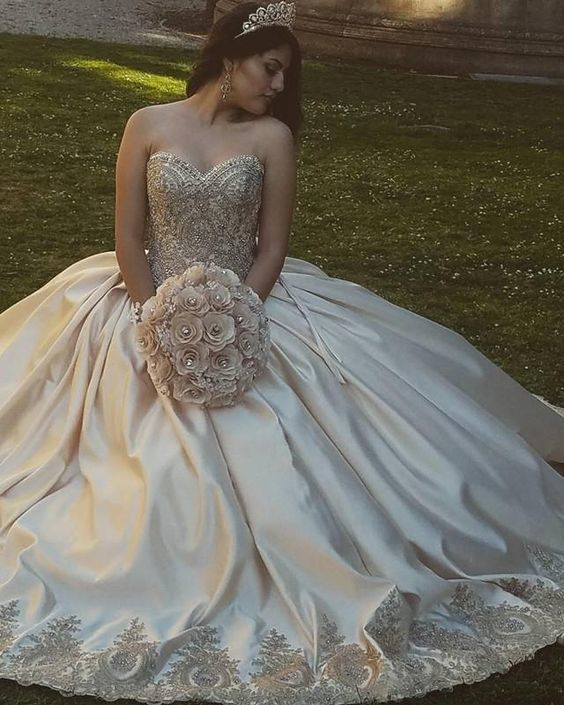 Gold Lace Embroidery Sweetheart Satin Ball Gowns by dresses on Zibbet
