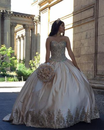 Gold Lace Embroidery Sweetheart Satin Ball Gowns Quinceanera Dresses