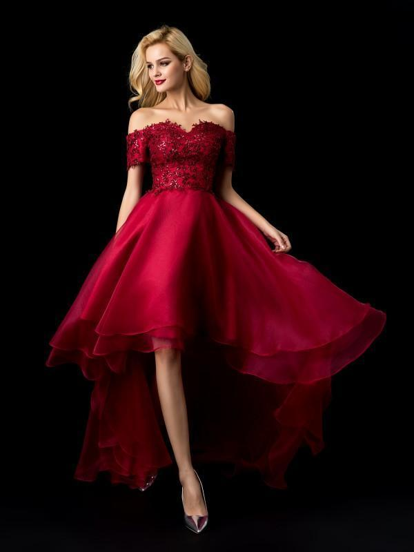Off the Shoulder Burgundy Lace High Low Prom Dresses Plus Size Pageant Dress