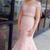 Two Piece Prom Dresses V-neck Mermaid Pink Beading Sexy Long Prom Dress
