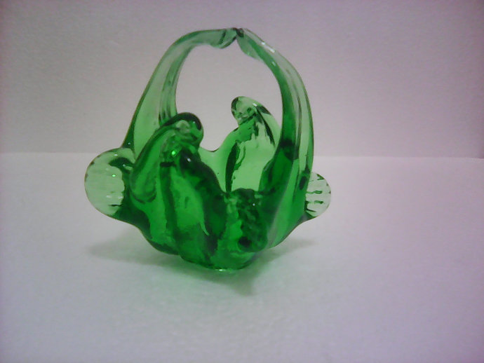 Small Green Vintage Murano Basket by Ercole Barovier, c1940' s