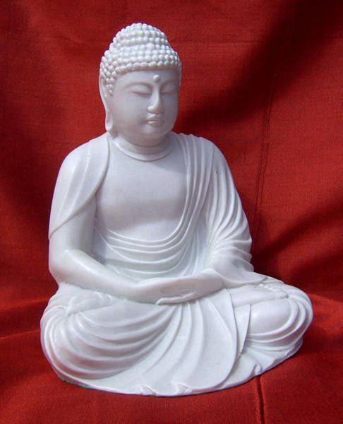 Classic Style Buddha, Mediation Pose,in Reconstituted Marble.