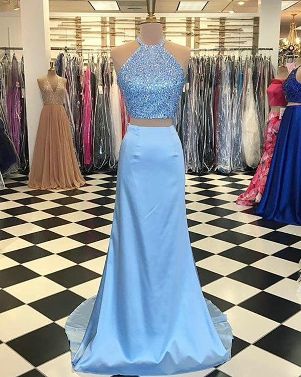 c44763ea52f79 Light Blue Mermaid Prom Dresses Halter Beaded Elastic Satin Two Piece Prom  Party Gowns