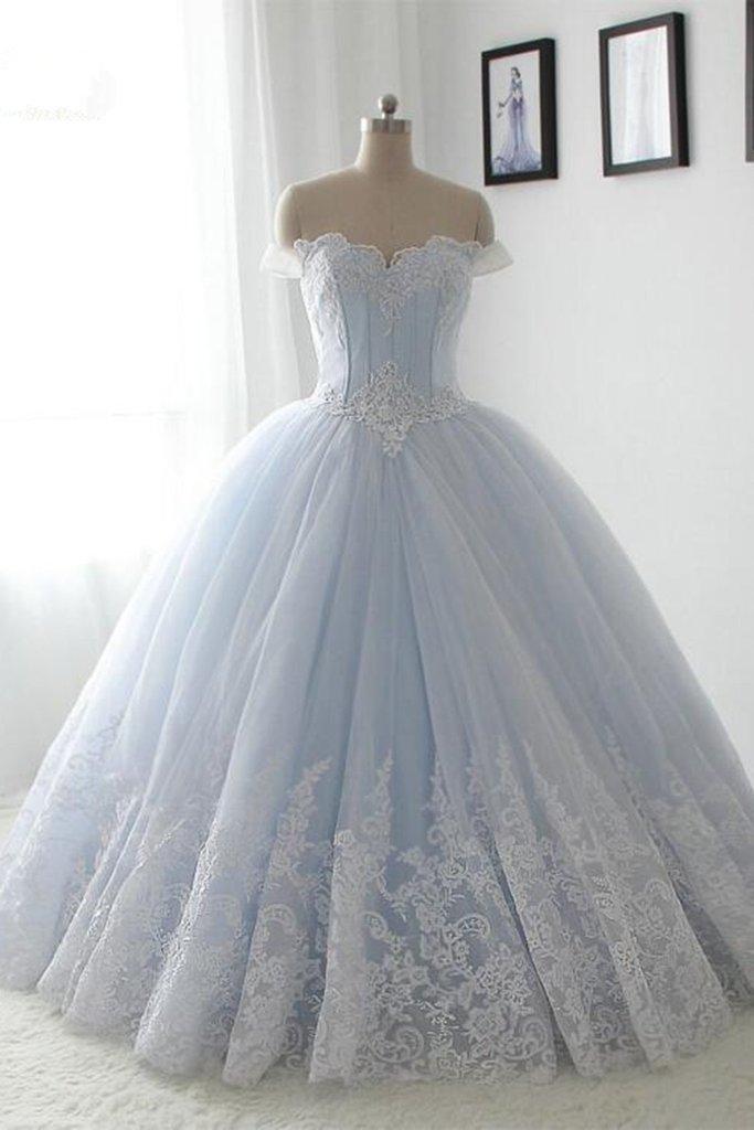 Light blue organza Wedding Dress, lace by prom dresses on Zibbet