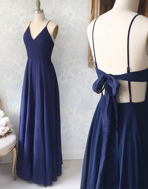 8ab16dc03baf Simple blue v neck chiffon long prom dress, evening dress,Party Dresses, Evening