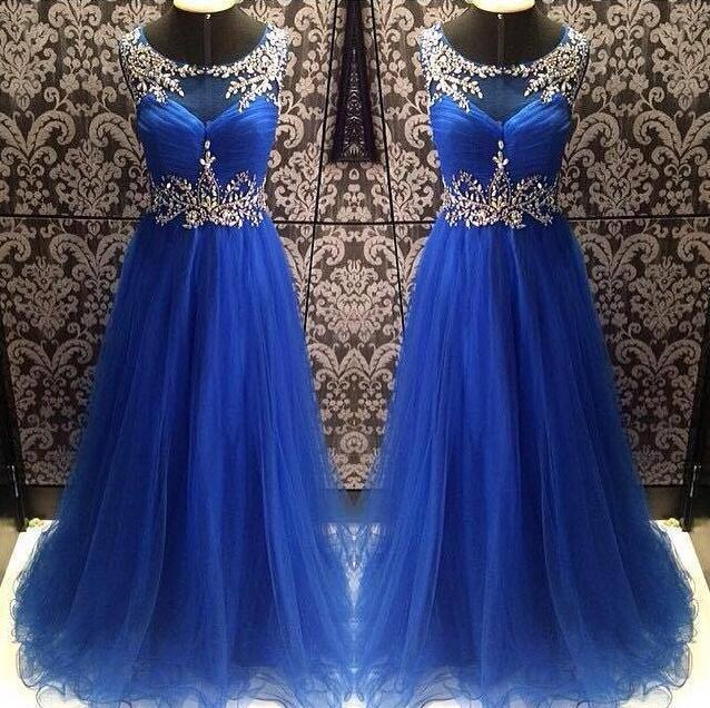 Scoop Neck Long Prom Dress,Tulle party Dresses, Crystals Beaded Party Dresses,