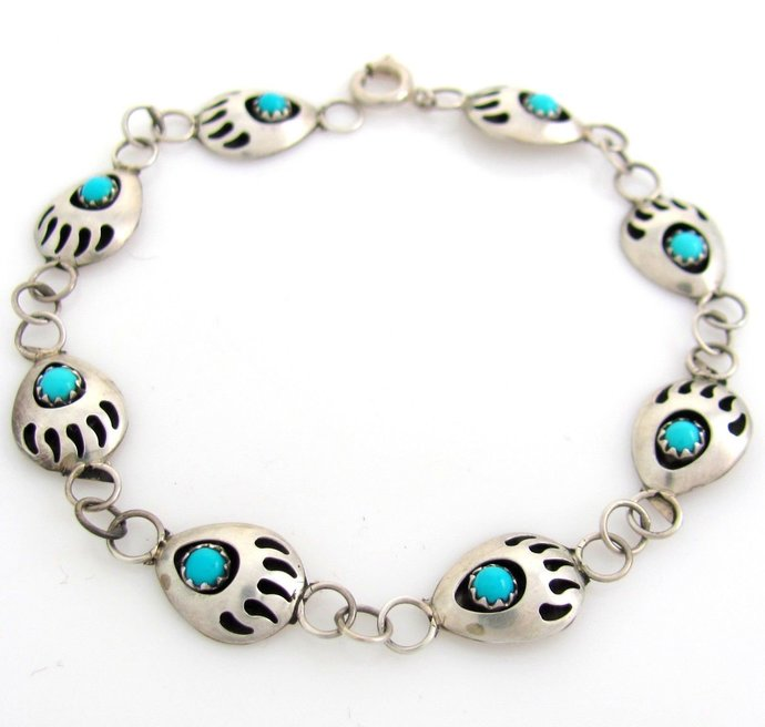 Navajo Sterling Silver & Turquoise Bear Claw Shadowbox Paw Bracelet