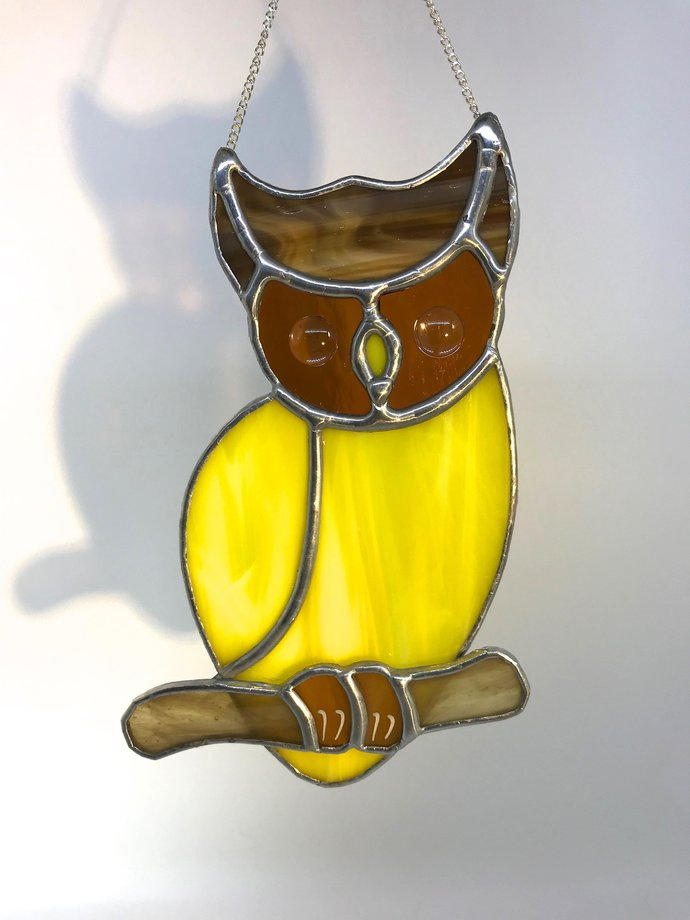 Magical Yellow Owl Stained Glass by mrbrinkleysstudio on Zibbet