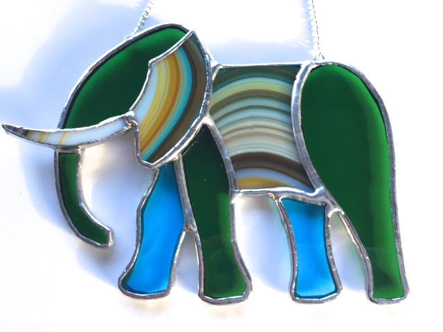 Unique Safari Elephant Stained Glass Suncatcher Lover Birthday Gift