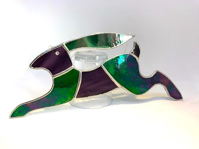 Large Iridescent Green And Amethyst Purple Stained Glass Running Hare
