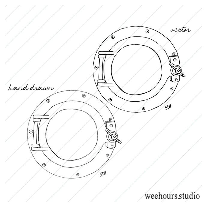 Porthole vector, illustration, drawing, art, for digital stamps, scrapbooking