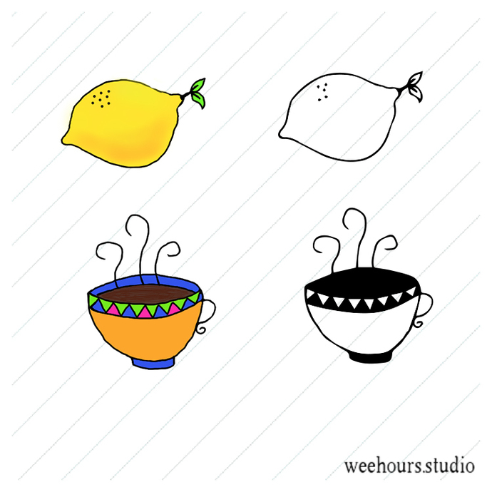 FREE Lemon and coffee cup vector, clipart, stamp for digital scrapbooking