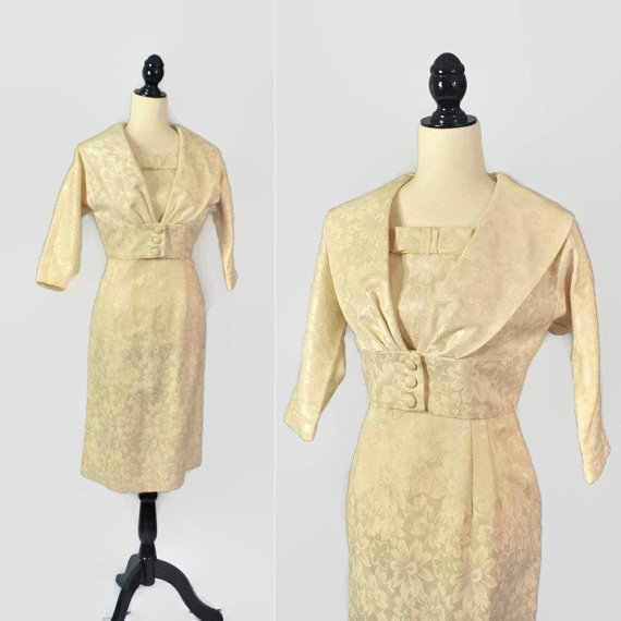 Vintage 50s Dress Set Crop Jacket Small Pin Up 2 Piece Cream Wiggle Party Dress