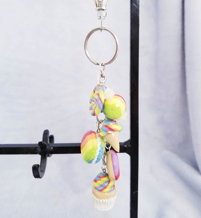 Sweet B's Candy Charm Key-chain: Rainbow Vanilla Cupcake Long