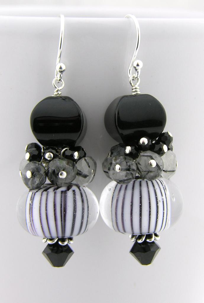Classic Earrings - handmade artisan lampwork sterling silver Black white