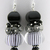 Classic Earrings - handmade artisan lampwork sterling silver Black white
