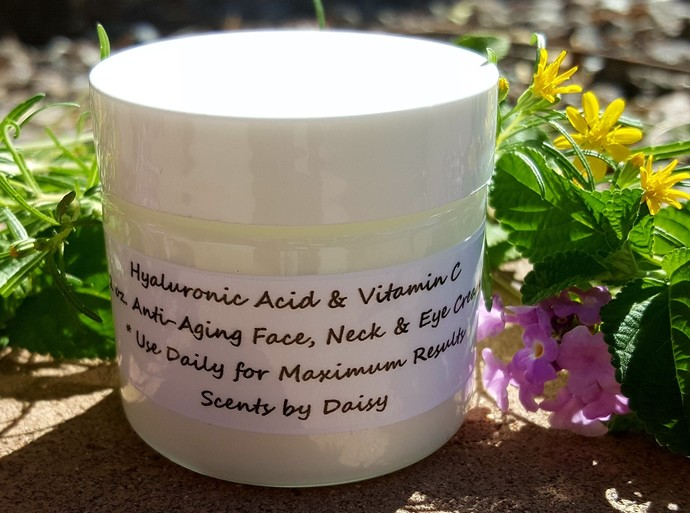 Hyaluronic Acid, Vitamin C - Face, Neck and Eye Cream - Fade Spots, Lines,