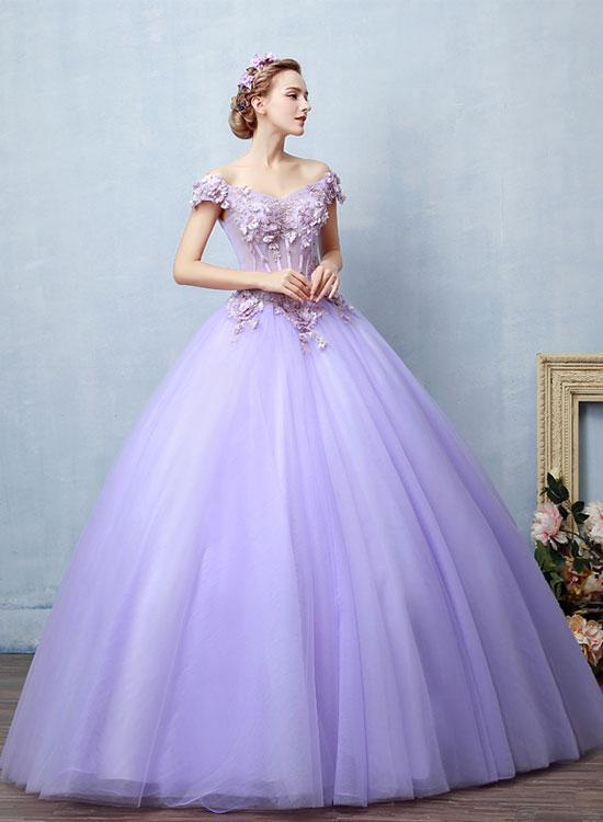 Light Purple Tulle Lace Long Prom Dress Sweet 16 Dress