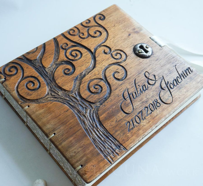Personalized wedding guest book Nature Barn Woodland