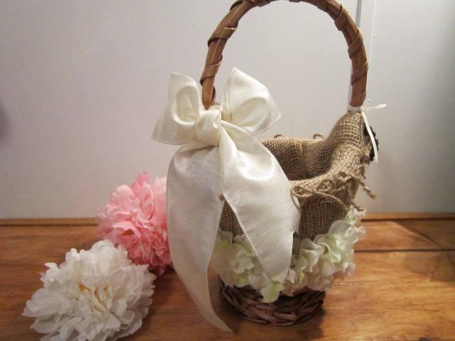 wedding, rustic flower girl basket, miss sassy flower girl, burlap design