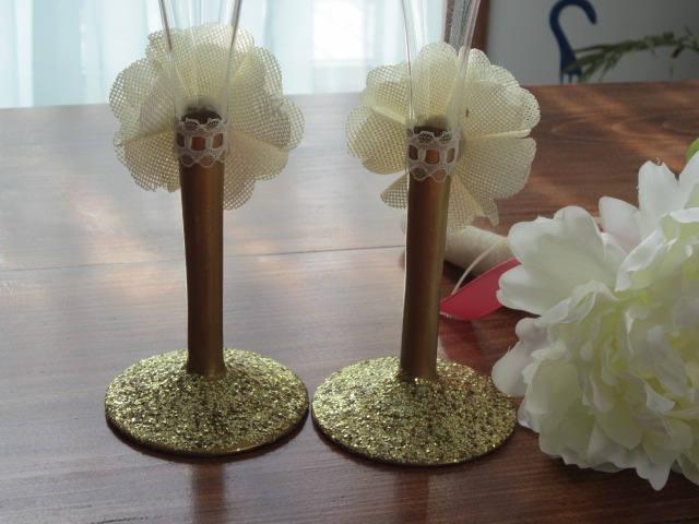 glassware, champagne handmade glasses, champagne flutes, golden anniversary,