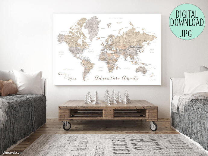 Printable world map file for printing a push by blursbyaishop on