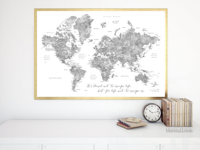 world map printable gray world map poster digital download watercolor world