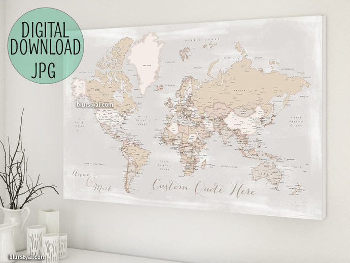 World map push pin printable world map with by blursbyaishop on zibbet world map push pin printable world map with cities custom map rustic world gumiabroncs Image collections