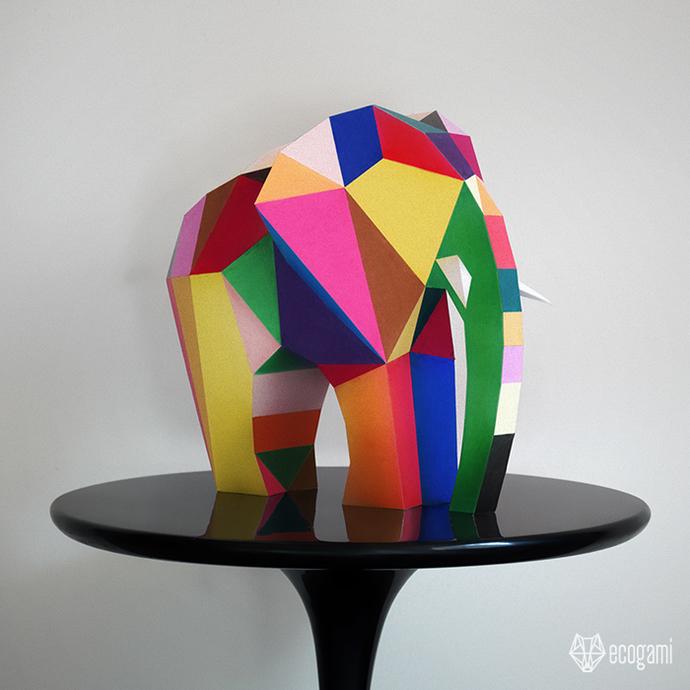 Make your own papercraft abstract elephant sculpture | DIY 3D paper sculpture |