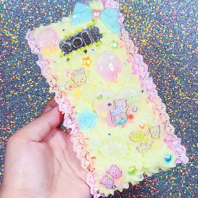 Galaxy Note 8 Korilakkuma Citrus Summer Theme Pastel Pink and Yellow Cute Kawaii
