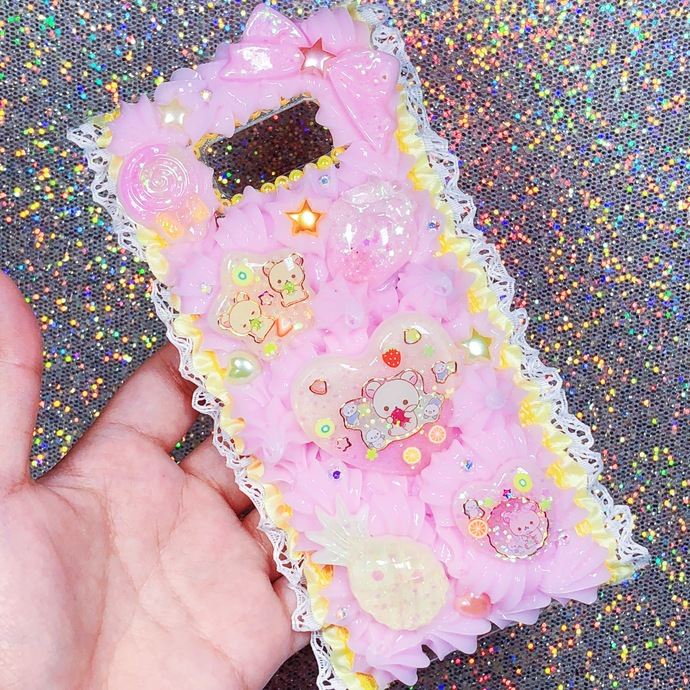 Galaxy s8 + Korilakkuma Citrus Summer Theme Pastel Pink and Yellow Cute Kawaii