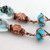 Turquoise Leaves and Flowers Earrings - white black glass copper earrings