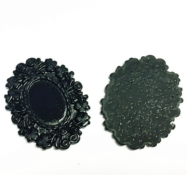4pc 50x40mm fancy black resin cabochon setting-10424