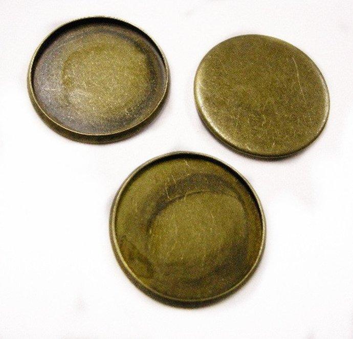 6pc antique bronze 25mm cabochon setting-4179