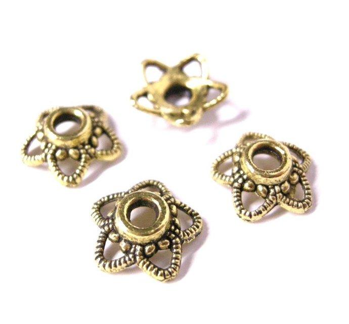 12pc 11mm antique gold metal bead cap-5337