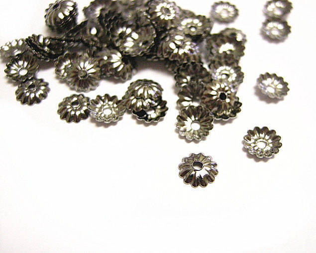 100pc 5mm gunmetal finish metal bead cap-9236
