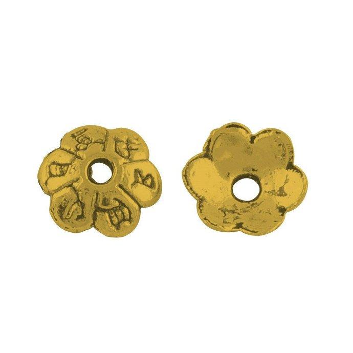50pc 6mm antique gold finish metal bead cap-OFF41
