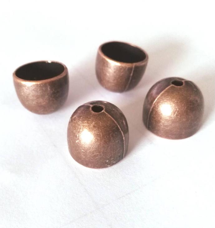 6pc 15.5x13mm antique copper finish dome shape metal bead caps-BB48