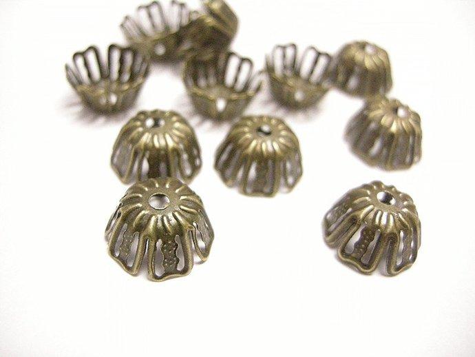 20pc antique bronze filigree bead caps-1048