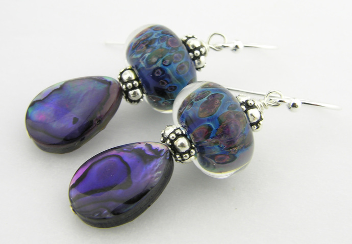 Abalone and Bubbles Earrings - artisan lampwork, sterling silver purple bubbles