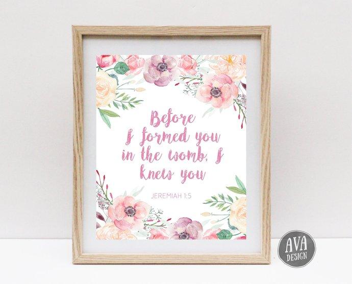 Scripture Printable   Floral Watercolor Print   Nursery Art Printable   Newborn