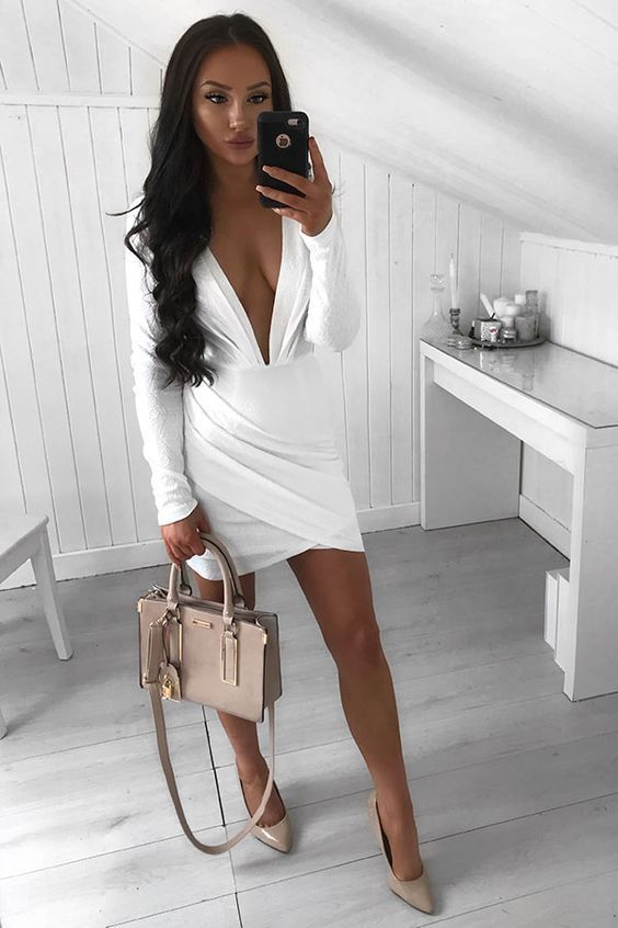 5854f0268c2 Sheath Deep V-Neck Long Sleeves Short White Homecoming Cocktail Dress with