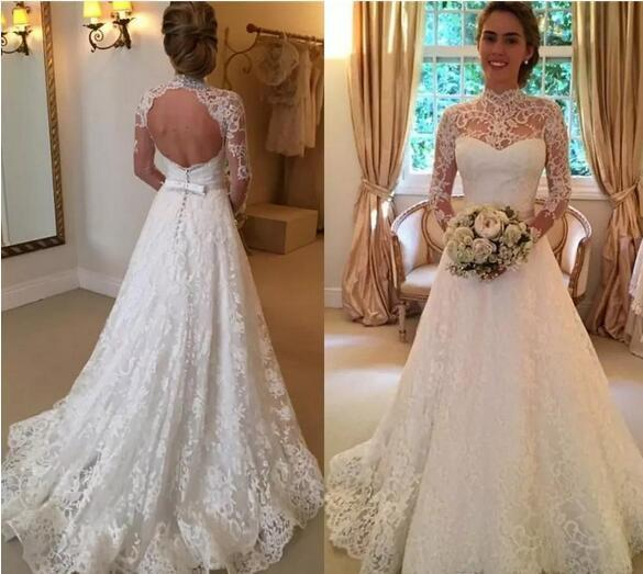 Vintage Lace Wedding Dresses High Neck Illusion Sleeved Open Back Aline Wedding Gowns Chapel Bridal Dresses