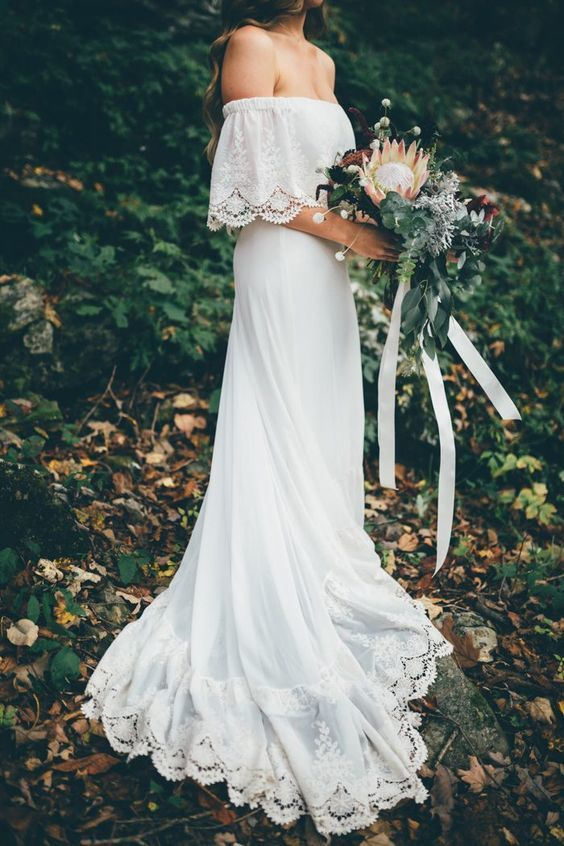Boho Garden Wedding Dress, Off Shoulder by Miss Zhu Bridal on Zibbet