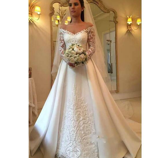 5447987bc8a Elegant Off Shoulder Lace Applique Wedding Dresses A Line Long Sleeves  Bridal