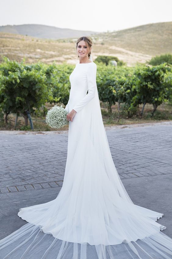 Boat Neck Mermaid Wedding Dress, Long Open by Miss Zhu Bridal on